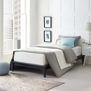 Lodge Twin Wood Platform Bed in Gray