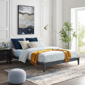 Lodge Full Size Wood Platform Bed in Gray