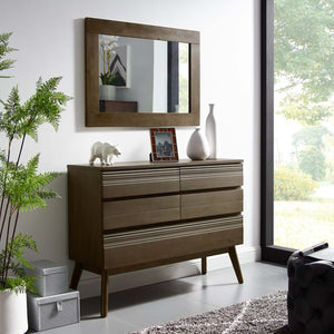 Everly Modern Wood Dresser in Walnut Finish