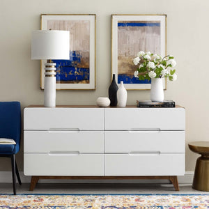 Origin Six-Drawer Dresser or Console in Walnut White - taylor ray decor