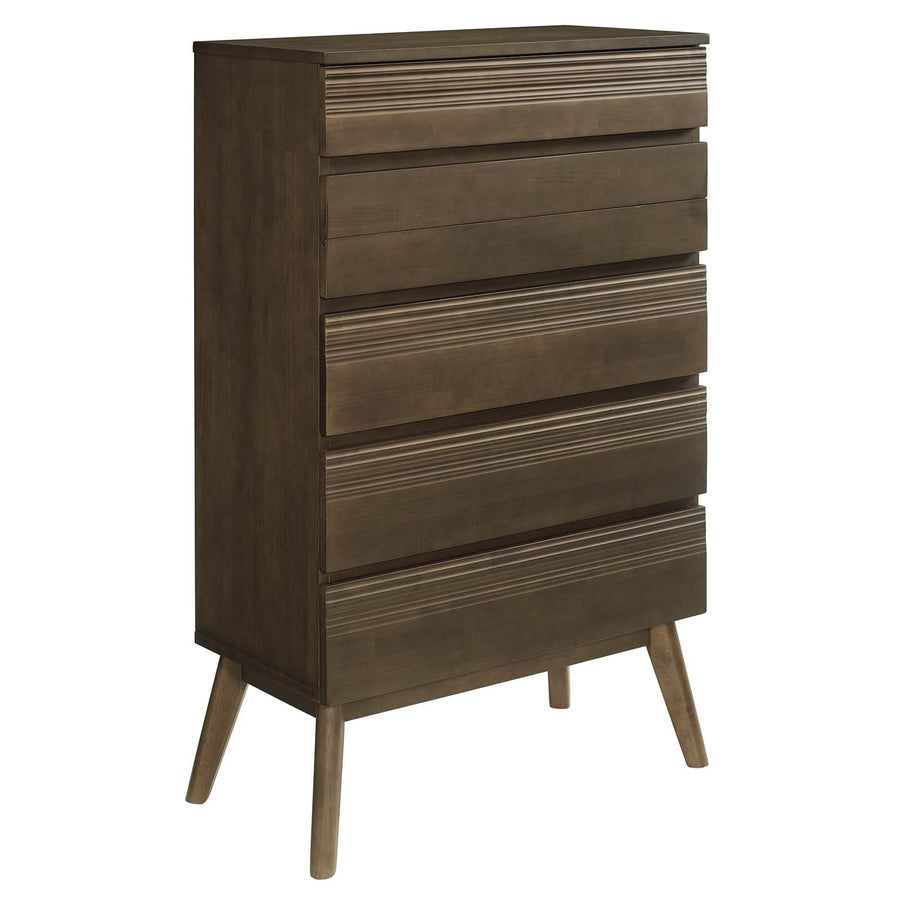 Everly Modern Wood Chest of Drawers in Walnut Finish