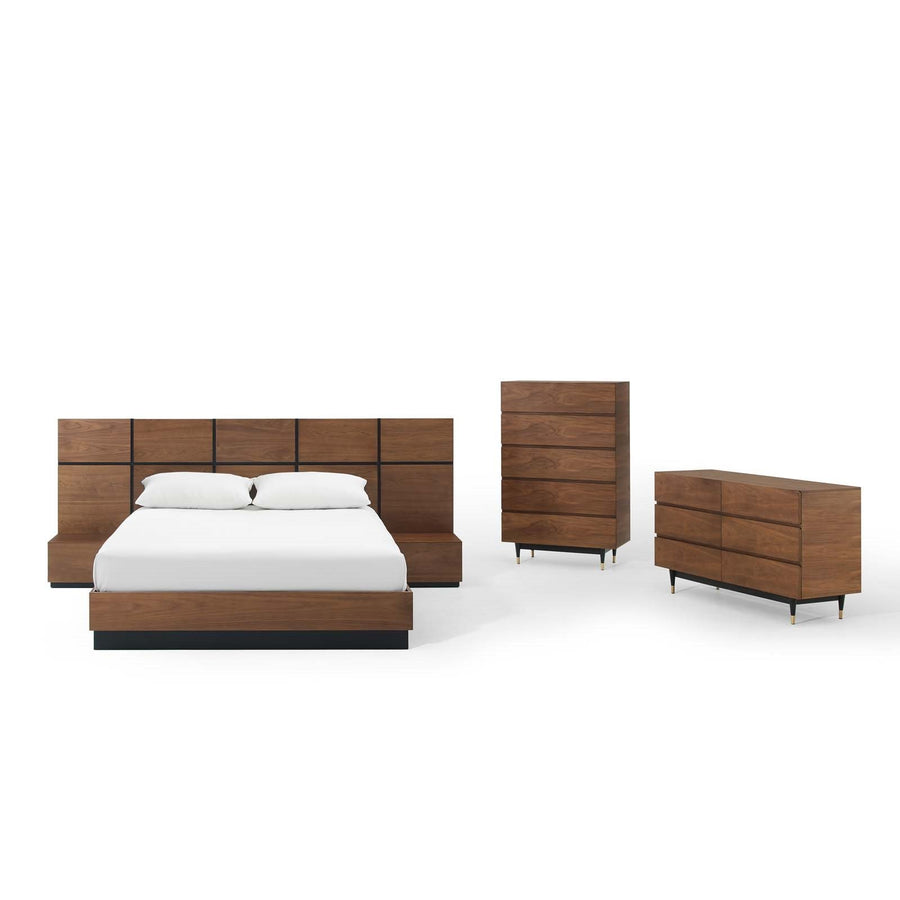 Caima 5 Piece Walnut Queen Bedroom Set