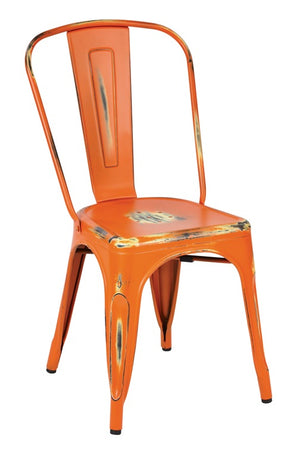 Bristow Armless Metal Dining Chair in Antique Orange