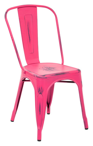 Bristow Armless Metal Dining Chair in Antique Pink