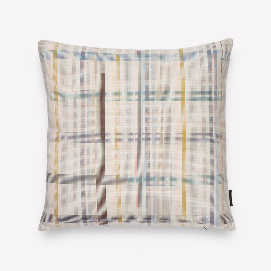 Darning Sampler Plaid Cotton Pillow