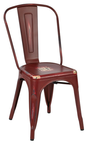 Bristow Armless Metal Dining Chair in Antique Red