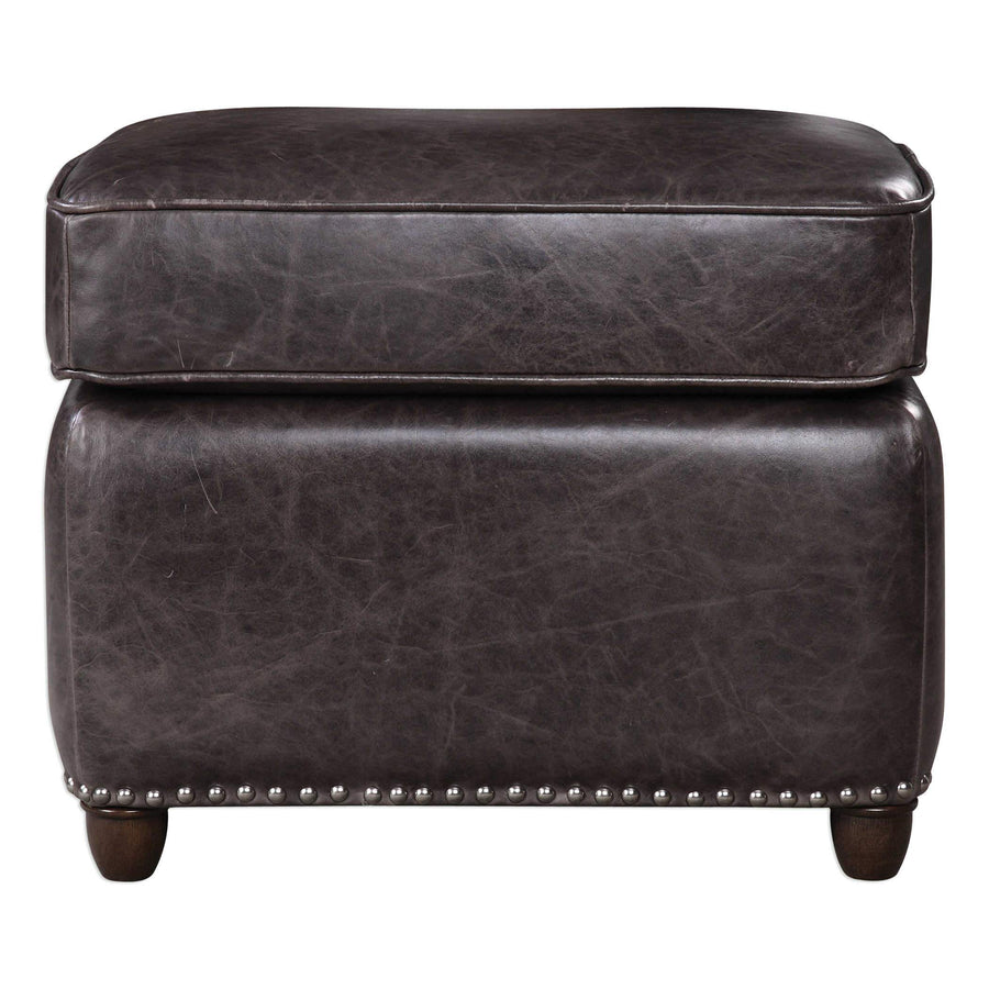 Roosevelt Rectangle Ottoman, Smoke Leather