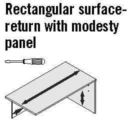 "Contemporary Affordable 60""Wide Rectangular surface-return with modesty panel - 29""H"