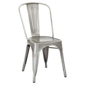 Bristow Armless Metal Dining Chair in Bright Silver