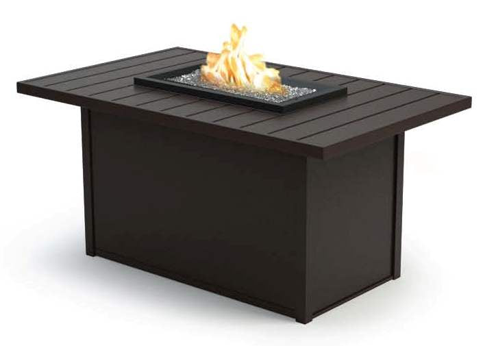 "Breeze 32"" x 52"" Rectangular Chat Fire Pit (Aurora Aluminum Base) - taylor ray decor"