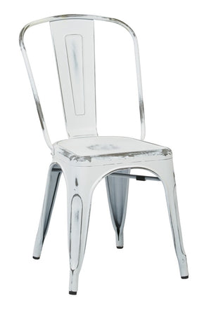 Bristow Armless Metal Dining Chair in Antique White