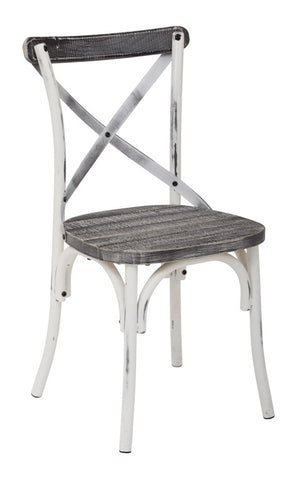 Somerset X-Back Antique White Metal Chair - taylor ray decor