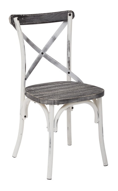 Somerset X-Back Antique White Metal Chair