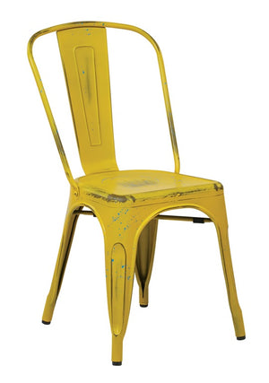 Bristow Armless Metal Dining Chair in Antique Yellow