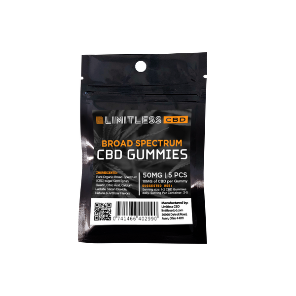 Limitless - Broad Spectrum infused Gummy Bears 5ct - All CBD Co