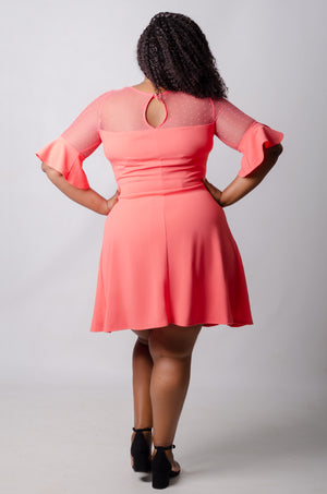 Harlen Flare Dress - Coral
