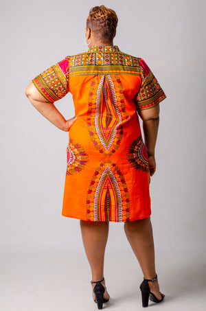 Imeri Shirt Dress - Orange