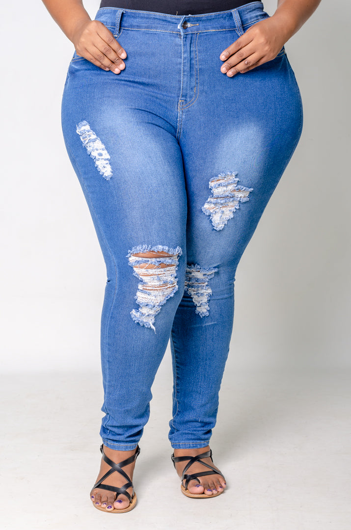 A little Distressed Jeans - Medium Blue