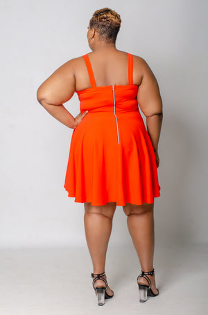 Sweetie Pie Skater Dress - Orange