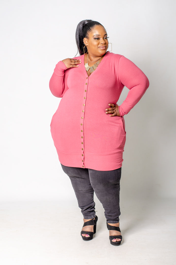 Oh Snap Mid Thigh Cardigan - Blush Pink