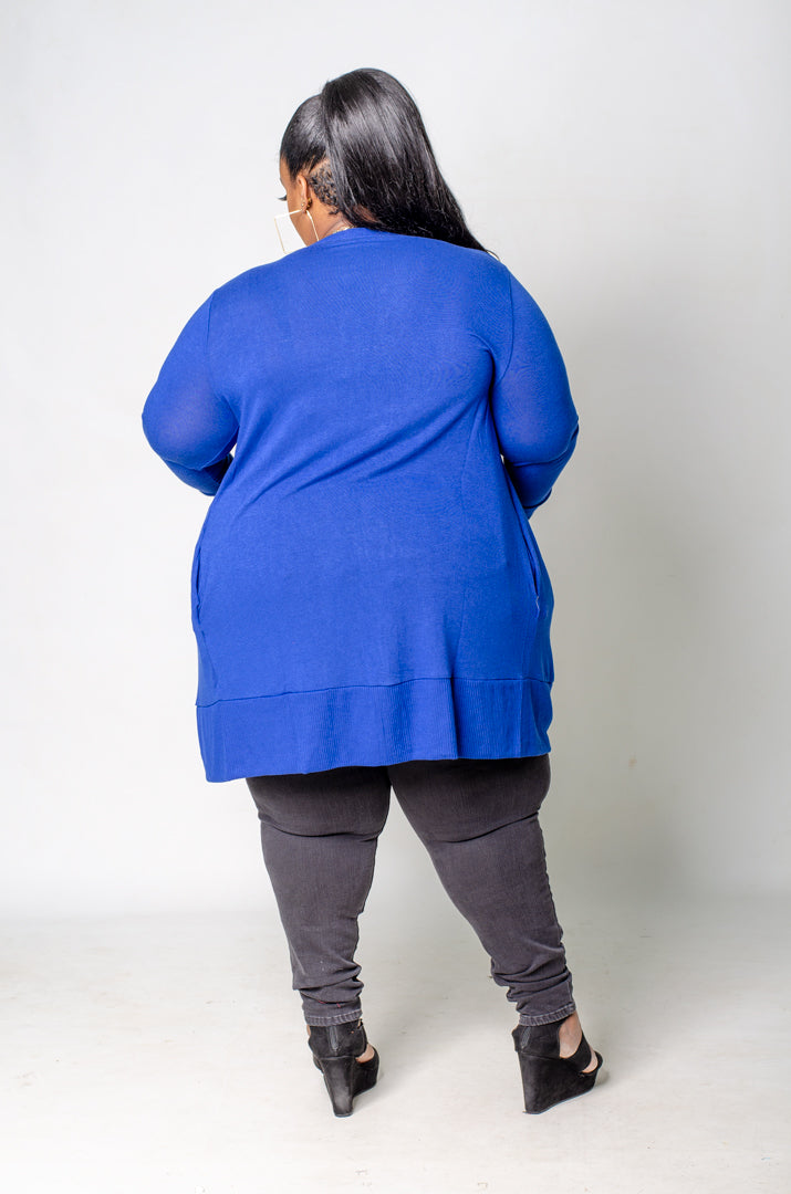 Oh Snap Mid Thigh Cardigan - Blue