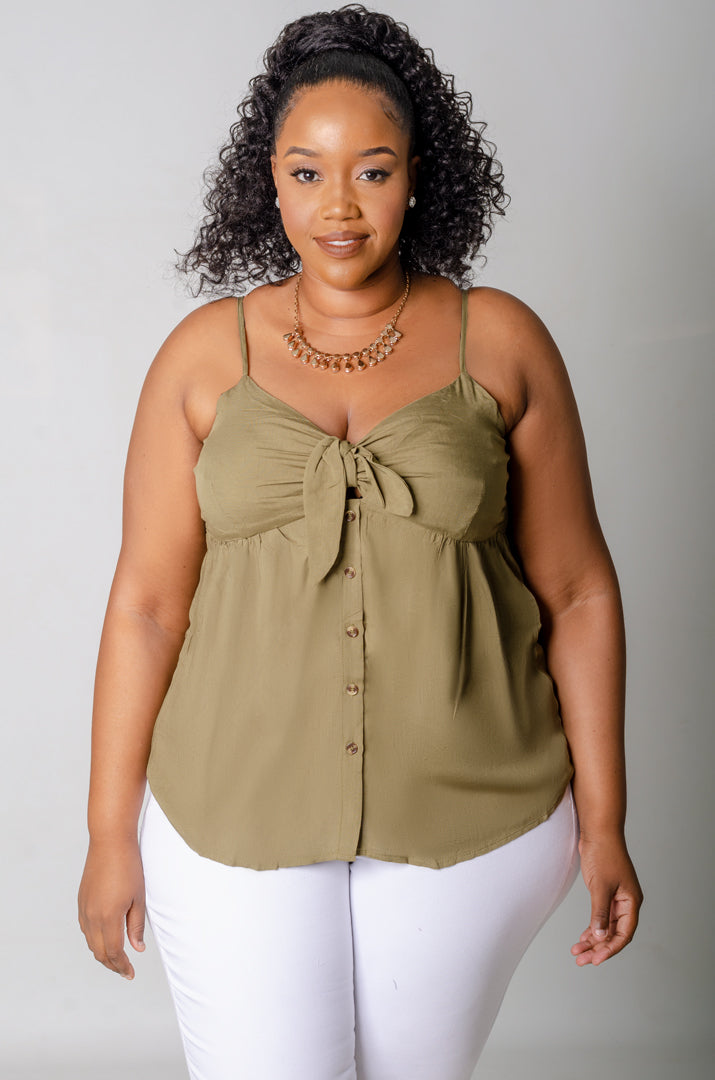 Nuria Tied Top - Olive Green