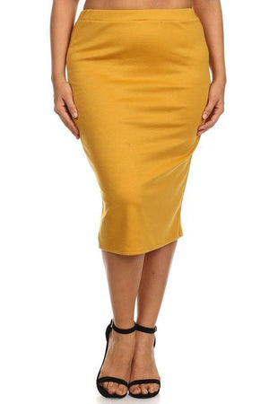 Conference Skirt Bottoms Phierce Plus Size 1 Mustard