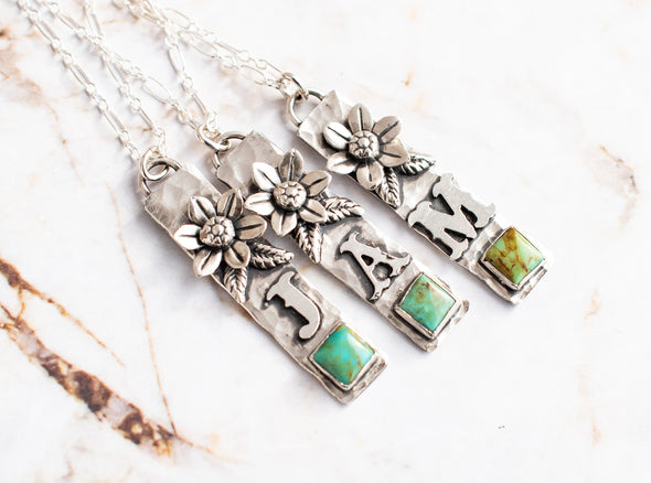 Vertical Initial Necklace with Flower