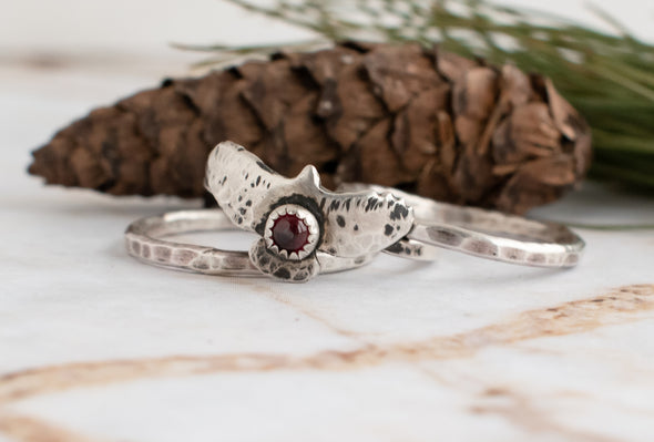 Bird Ring and Two Silver Stacking Ring Bundle