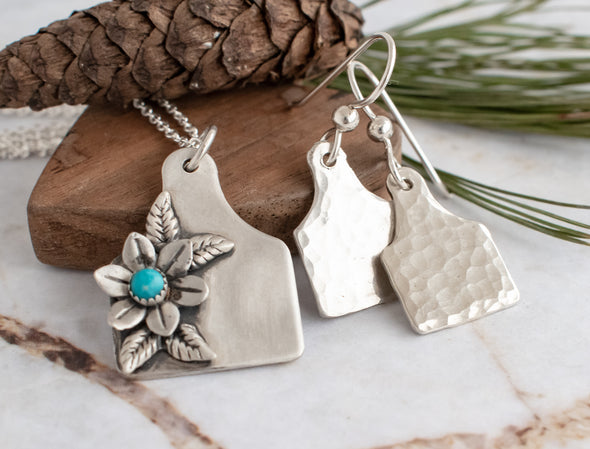 Cattle Tag Necklace And Tiny Cow Ear Tag Earrings Bundle
