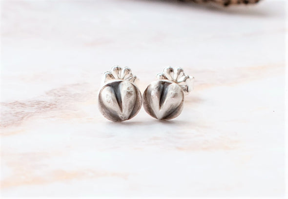 Tiny silver heart earrings