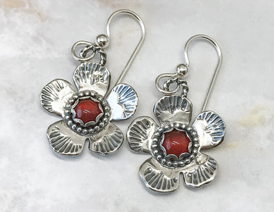 Carnelian Flower Earrings