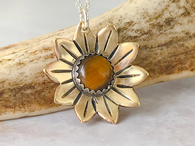 Tiger Eye Sunflower Necklace