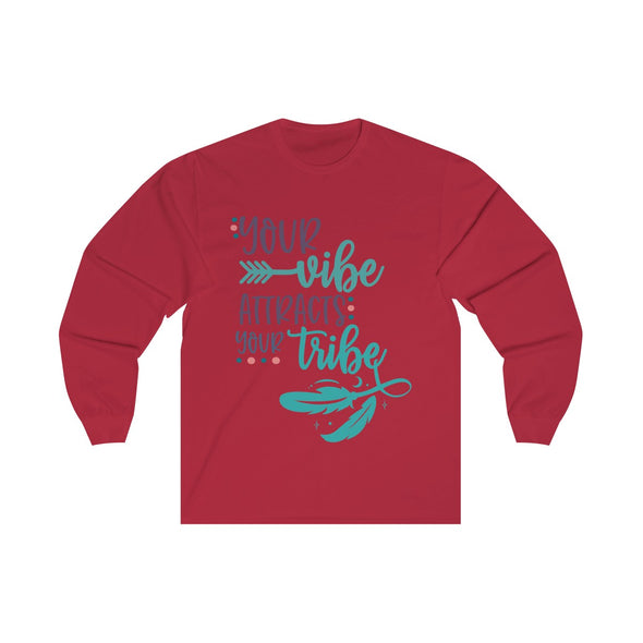 Your Vibe Attracts Your Tribe Long Sleeve  V-neck Tee
