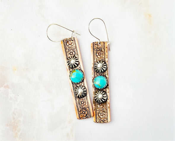 Copper Flower Earrings