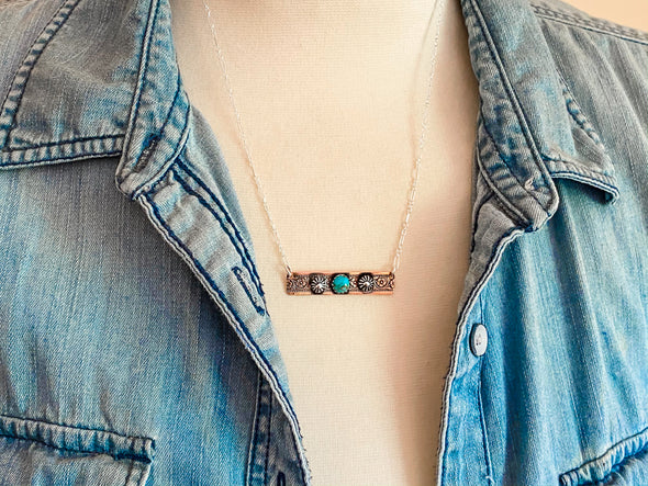 Floral Copper Bar Necklace