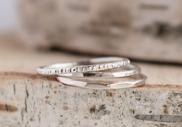 Hammered Stacking Ring Set