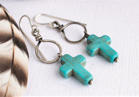 Turquoise Cross Earrings Sterling Silver