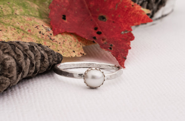 Pearl Stacking Ring Hammered Silver