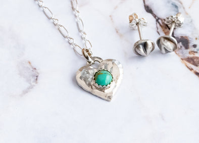 Tiny Turquoise Heart Necklace