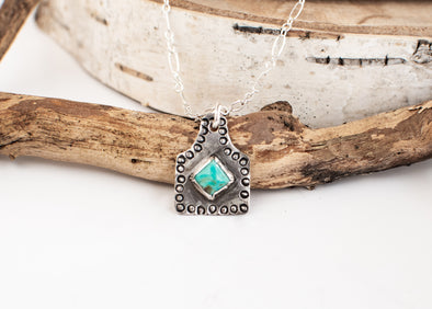 Turquoise Ear Tag Necklace