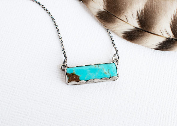 Turquoise Bar Necklace Blue