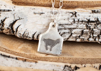 Tiny Cow Ear Tag Necklace