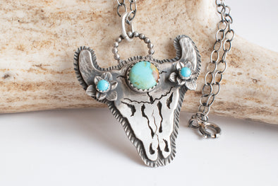 Cattle Skull Necklace with Kingman Turquoise