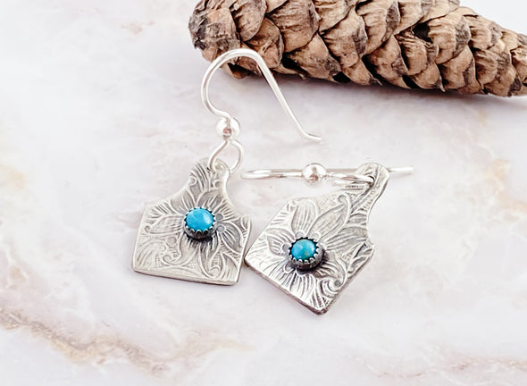 Cow Tag Turquoise Earrings