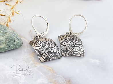 Tooled Rectangle Earrings