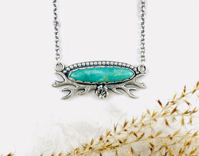 Turquoise Deer Antler Necklace