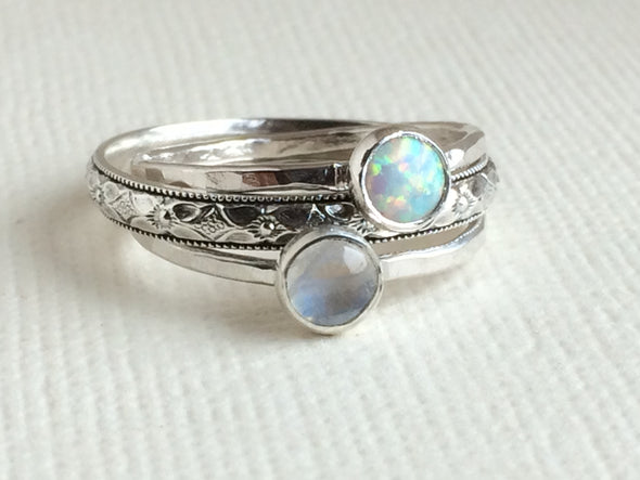 Moon and Opal Ring Bundle
