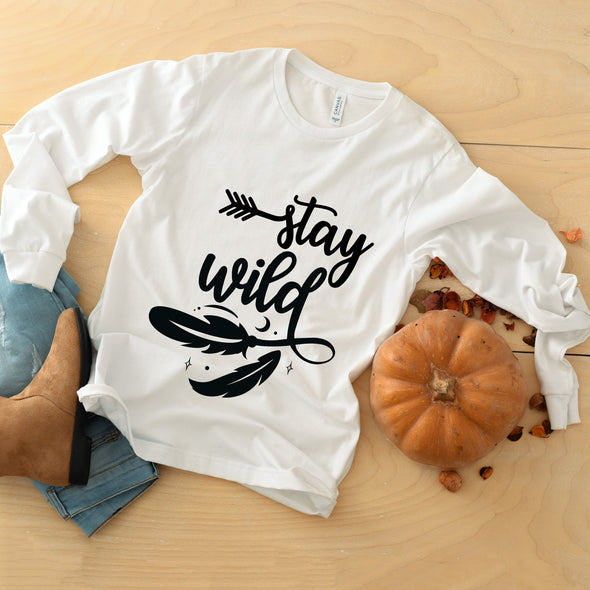 Stay Wild Long Sleeve Boho tee, Crew Neck