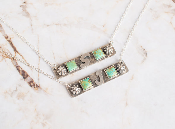 Two Turquoise Initial Bar